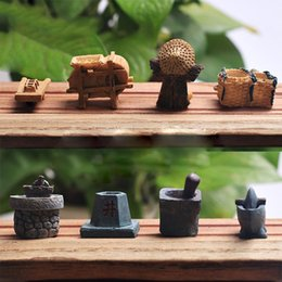 Artigianato in miniatura da giardino online-Cina Farming Tools Miniature Fairy Garden Decoration Case Mini Craft Micro Landscaping Decor Home Decoration Accessori fai da te