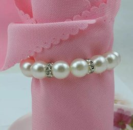 Wholesale Napkin Pearl - Imitation Pearl Napkin Rings Wedding Napkin Buckle For Wedding Reception Party Table Decorations Supplies Napkin Rings