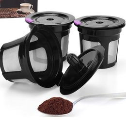 Wholesale Metal Baskets Wholesale - Black Reusable Coffee Filter Cup Stainless Mesh Funnel 3Piece Set Coffee Colanders Strainers Drinkware Cup WX9-336