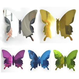Wholesale Adhesive Mirror Paper - Fancy 12pcs lot Single Layer Wings Mirror Butterflies Acce 3D Cinderella Butterfly 5 Pure Colors Removable Wall Stickers