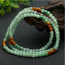 Wholesale Green Jade Beads 4mm - Natural A cargo 4mm bean green jade beads necklaces Genuine Myanmar Amaryllis flower yellow green beads necklaces