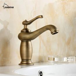 Wholesale Antique Copper Bathroom Faucets - Antique Bathroom Faucet Brushed Copper Hot And Cold Water Basin Faucet Mixer Retro Single Handle Water Tap