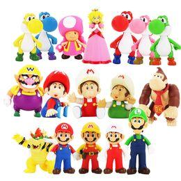Deutschland Super Mario Bowser Yoshi Mario Luigi Esel Kong Wario Kröte Toadette PVC Abbildung Spielzeug Modell Puppen Action-Figuren Spielzeug 12cm Freies Verschiffen Versorgung