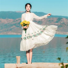 Wholesale vintage chinese embroidery - New Chinese Style Women White Fairy Dress Embroidery Floral Retro Vintage Long Sleeve Beach Dress For Lady Mori Girl Vestidos