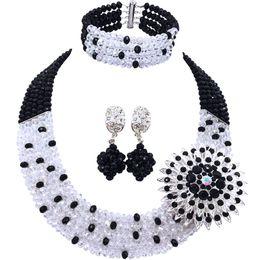 Venta caliente negro transparente granos cristalinos africanos conjuntos nupciales de la joyería para las mujeres 5C-SZ-08 desde fabricantes