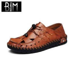 Wholesale Opening Drive - BEINAMINA Summer Men Casual Leather Shoes Round Toe Slip On Lazy Loafers Shoes Daily Driving Male Footwear Size 39-44
