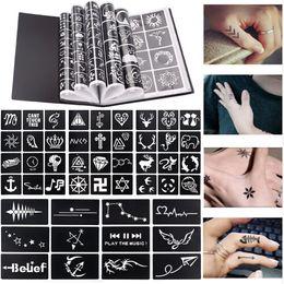 Henna tatuagens mãos on-line-17 Folha 264 Mapas Profissionais À Prova D 'Água Modelos de Tatuagem de Henna Temporária Glitter Airbrush Tatuagem Mão Desenho Dedo