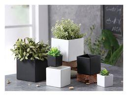 Wholesale Media Desktop - succulents pots Decorative fashion Simple white black flower pots planters succulent plant potted on the desk home decoration Three sizes