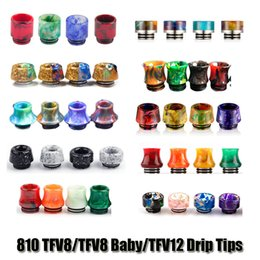 Wholesale Wholesale Epoxy - 810 Thread Cone Bell Marble Epoxy Resin Drip Tips SS Gourd Drip Tip Mouthpieces For TFV8 TFV12 TFV8 Big Baby Tanks