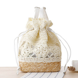 Wholesale Japanese Women Backpack - Japanese handmade crocheted backpack straw woven bags woven bag Sen Department of Tourism holiday leisure handbags