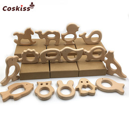 Wholesale Free Hand Cutting - 30pcs DIY Baby Teether Toys Organic Natural Beech Wooden Different Types Combination Animal Hand Cut Toys Baby Wooden Teether Shower Gift