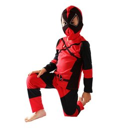 Wholesale Latex Clothes Men - ostumes halloween costumes Boy Deadpool Costume Halloween Costume For Kids Role Play Deadpool Party Cosplay T-Shirt+Pants+Mask Clothing S...