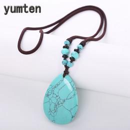 Измерительная цепь онлайн-Yumten Natural Turquoise Necklaces Ethnic Women Wedding Jewellery Long Sweater Chain Crystal Pendant Simple Ornaments Meter Bead