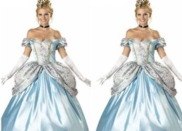 Wholesale Halloween Sexy Womens Costumes - Masquerade Ball Gown Cinderella Dress Womens Dress Cinderella Skirt Sexy and Elegant Heart and Backless Snow White Bubble Dress Blue and Wai