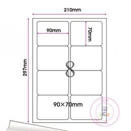 Wholesale Self Adhesive A4 - 240Pcs Lot 9*7cm Round Corner Square Self-Adhesive Sticker Label Printing A4 Kraft Paper Suit Laser Printers And Inkjet Printers