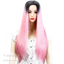 Wholesale Cheap Synthetic Two Tone Wigs - Cheap Long Ombre Black Pink Wigs Two Tone Natural Silky Straight None Lace Synthetic Wigs Heat Resistant