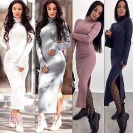 f2cc2e30c265ad Winter 2018 Warme Mode Frauen Kleid Langarm Bleistift Elegantes Kleid  Rollkragen Knibtting Lange Weiße Frauen Vestidos preiswerte wolle turtleneck  kleid