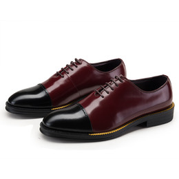 Wholesale Black Color Block Dress - New style color block black and white,black and red two styles fashion men's shoes genuine leather waxed daily wear shoes