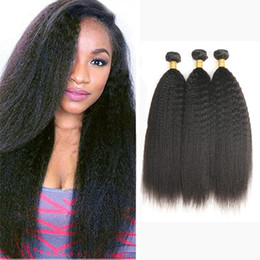 Wholesale real raw - Real Raw Indian Hair Kinky Straight Human Hair 3 4 Bundles 100% Indian Kinky Straight Cuticle Aligned Hair Extensions Indian Kinky Straight