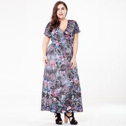 Vestido maxi cinza casual on-line-Plus Size Vestidos para As Mulheres 4XL 5XL 6XL Boêmio Longo Vestido V Neck Manga Curta Buerfly Casual Praia Maxi Vestido Azul / Cinza / Vermelho