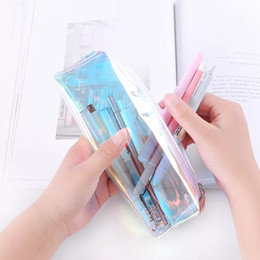 Wholesale clear plastic makeup bags - Creative Fashion Cool Laser Transparent Silica Gel PVC Plastic Waterproof Pencil Bag Student Stationery Box With Makeup Bag Pencil Bag