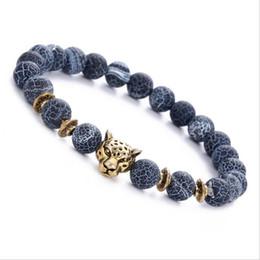 Wholesale leopard agate - 8MM black weathered agate alloy leopard head bracelet unisex