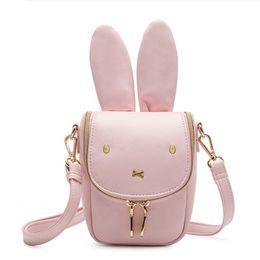 Wholesale Small Ears Cartoons - Miffy Women Mobile Phone Bags Fashion Small Purse Cute Big Rabbit Ears Shoulder Bags Mini Messenger Bag for Girls Cross Body Bag