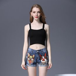 вышитые факельные джинсы Скидка 2018 Summer Women Short Jeans Casual Embroidered Flare Denim Shorts Fashion High Waisted Jeans Shorts Sexy Sequin Cartoon