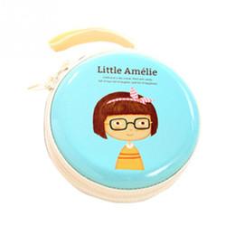 Wholesale cute girl headphones - Macaroons ColorCreative Cute Girl Cartoon Tinplate Round Mini Portable Headphones Wallet Keys Coin Purses