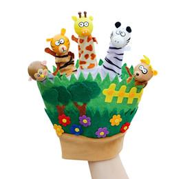 Wholesale Talking Glove - Glove Puppets Christmas Hand Puppet Doll Stuffed Toys Plush Mokey Tiger Zebra Story Talking Finger Animal Puppets Toys