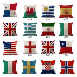 Wholesale pad decor - Pillow Case 45*45cm 2018 Russia World Cup Home Decor National Flag Throw Cushion Cover Soccer Pillow Covers Outdoor Pads 120pcs OOA5003