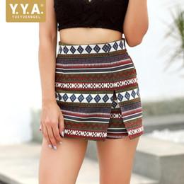 Wholesale folk skirt - Folk Boho Beach Women Colors Printed Shorts Skirts High Waist Casual Trousers Female Zip Streetwear Slim Fit Summer Short Mujer