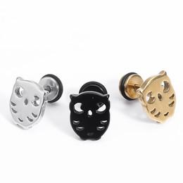 Brincos de orelha brincos de orelha on-line-1 Par Noite Coruja Brinco Stud Animal Casual Ear Stud Unisex Pequeno Coruja Ear Piercing Jóias Presente de Natal para Amante Adolescentes