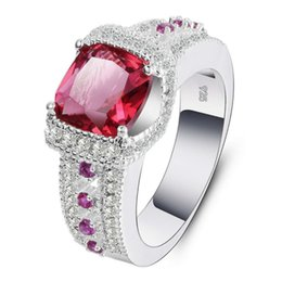 Wholesale Gemstone 925 Silver Jewelry - Gemstone Ring Jewelry Corundum Fashion Diamond Ring 925 Silver Color Dress Women Jewelry 3 Color & 5 Size