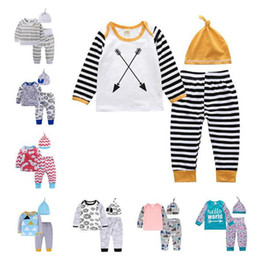 Wholesale Boys 24 Months Pajamas - 2018 Boys Girls Baby Clothing Sets Cotton Cartoon Toddler tshirts Pants Cap 3Pcs Set Long Sleeve Tshirts Boutique Infant Pajamas Clothes