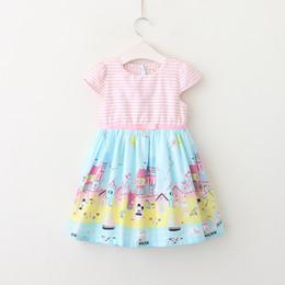 Wholesale American Girl Houses - Summer kids stripe dresses 2018 new girls house sailing printed dress children Bows belt princess dres kids cartoon clothing R2876