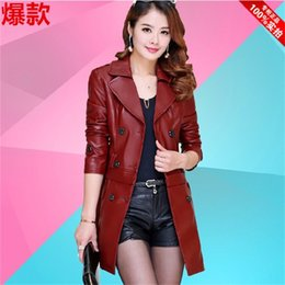 Wholesale ms sections - Spring Korean version of the new long section of Ms. Slim sheep leather coat big yards dermal hem Detachable Jacket