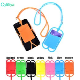Wholesale Card Holder Necklaces - DHL or EUB Silicone Lanyards Neck Strap Necklace Sling Card Holder Strap keychain for Universal Mobile Cell Phone