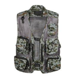 Summer Mesh 8 colores chaleco para hombres de camuflaje fino y transpirable Casual Shooting Work Baggy chaqueta sin mangas Multi bolsillo chaleco desde fabricantes
