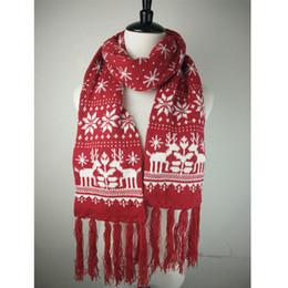 2017 vente Chaude unisexe classique designer Xmas renne tricoté femmes  hommes écharpe noël écharpe avec franges noir rouge couleur LL171010 0d4d281c0e7