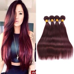 Wholesale Thick Ombre Hair Extensions - Burgundy 99j Brazilian Hair Straight Bundles Red Hair Extensions Weave Human Hair 12-26 inches Thick Weft 3 or 4 Bundles