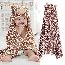 Wholesale Infant Giraffe - Cute Cartoon Newborn Baby Giraffe Bear Shaped Hooded Bathrobe Soft Infant Newborn Blanket Sleeping Bags