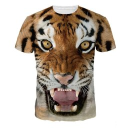 Wholesale womens tiger tops - New Fashion Womens Mens Tiger 3D Print T shirts Animal Graphic Tee shirts Unisex O-Neck Short Sleeve Tops
