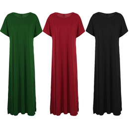 Canada 2018 Summer Long Dress Femmes Plus Size Dress Split Manches courtes Lâche Maxi robe robes robe indienne Casual 3XL 4XL 5XL supplier indian casual dresses women Offre