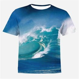 Wholesale New Wave Clothing - 2018 New Men T-shirt 3d Print Sea wave Tshirts Anime Hip Hop T Shirt clothing Compression shirt Summer Tops Tees