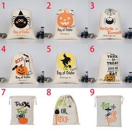 2019 papier de velours en gros Halloween Sacs à citrouille Toile Cordon Sac Hallowmas Sacs-cadeaux Trucs Ou Festin Imprimé Festival Party Decor 0549