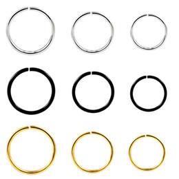 2019 хрящевые обручи 1PC Stainless Steel Seamless Hinged Nose Hoop Rings Piercing Adjustable By Hand Ear Septum Cartilage Helix Piercing Sexy Jewelry дешево хрящевые обручи