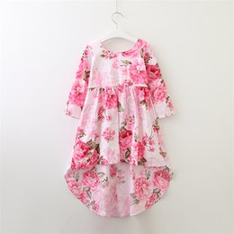 Vestito sleeveless lungo floreale di modo online-Vieeoease Girls Dress Floral Kids Clothing 2018 Summer Fashion manica lunga pizzo Tutu Princess Party Dress EE-598