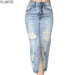 Wholesale Jupe Denim - PLAMTEE Slim High Waist Pencil Skirt Holes Ripped Saia Midi Feminino Washed Color Split Jupe Denim Skirt 2017 Falda Corta Mujer
