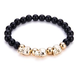 Wholesale Skull Heads Beads - Black Natural Stone Gothic Skull Head Beads Braclet Trendy Men Cool Biker Strand Bracelet For Men Hand Jewelry Accessories Wholesale
